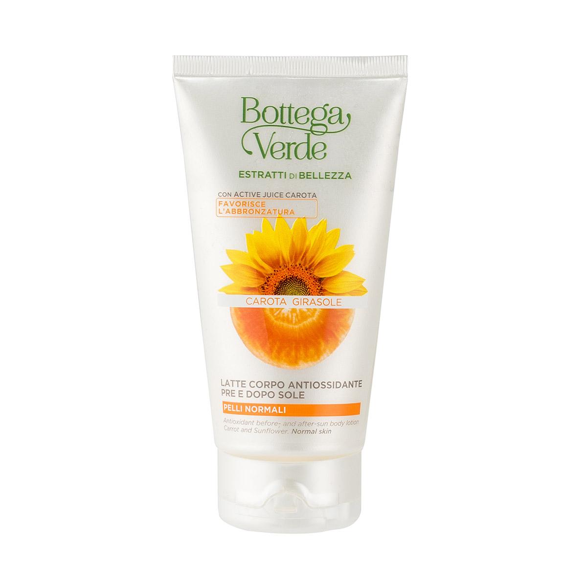 Lapte de corp antioxidant, inainte si dupa expunerea la soare cu extract de morcov si floarea-soarelui - Estratti di Bellezza, 150 ML