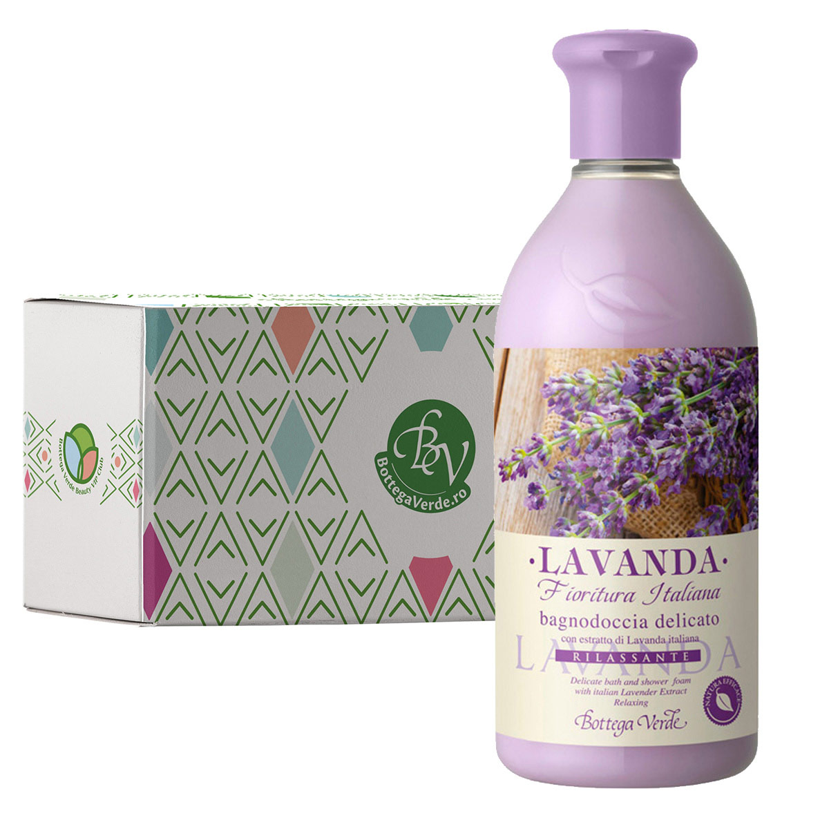 Gel de dus cu extract de lavanda italiana in cutie cadou