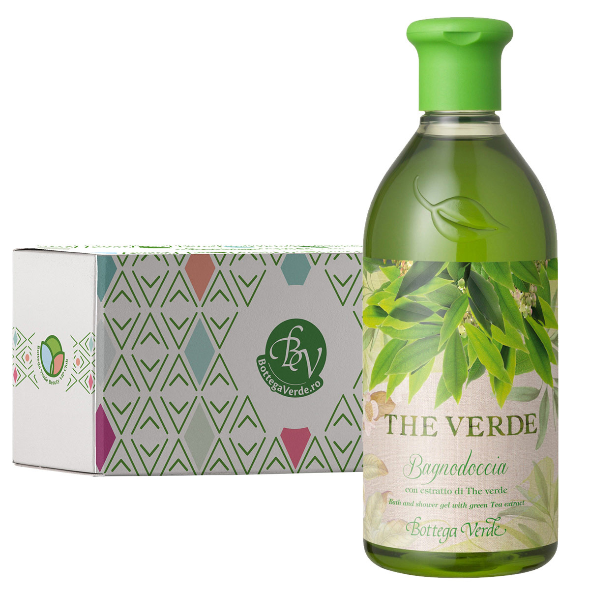 Gel de dus cu extract de ceai verde in cutie cadou