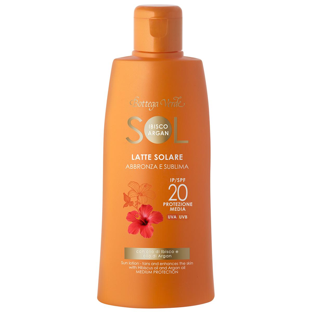 Protectie Solara - Lapte de corp pentru plaja, rezistent la apa, cu ulei de Hibiscus si Argan - SPF 20
