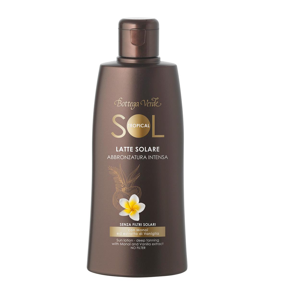 Protectie Solara - Lapte de corp pentru plaja, pentru un bronz aprins, fara protectie solara - cu ulei Monoi si extract de vanilie