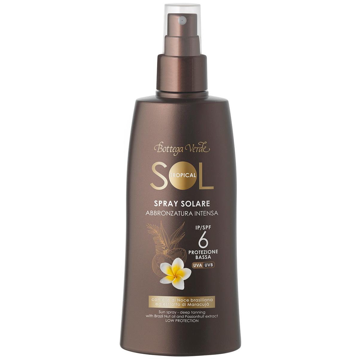 Protectie Solara - Crema spray pentru plaja rezistent la apa, pentru un bronz aprins, cu ulei de nuci braziliene si extract de maracuja, SPF 6