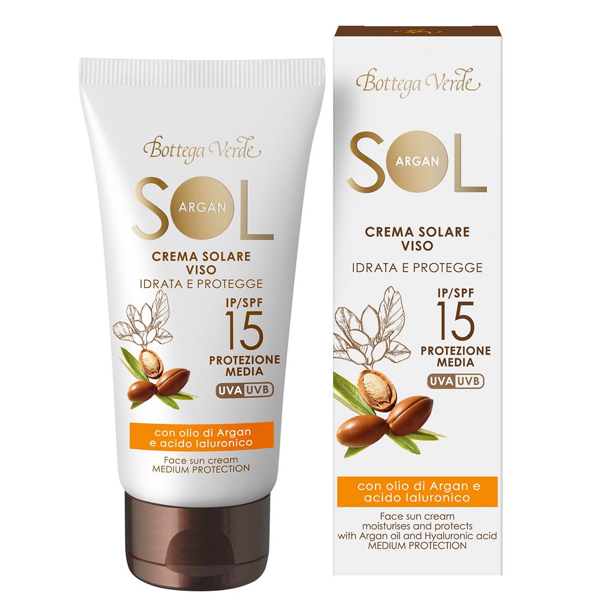 Protectie Solara - Crema de fata pentru plaja cu ulei de argan si acid hialuronic, SPF 15