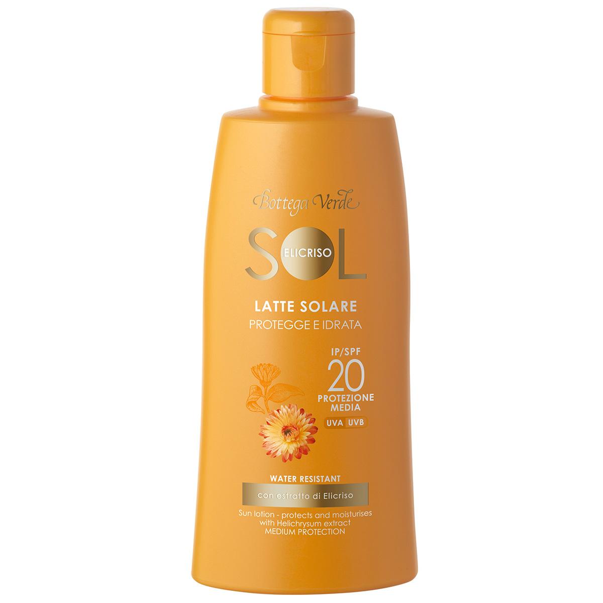 Protectie Solara - Lapte de corp hidratant pentru plaja, rezistent la apa, cu extract de Helichrysum - SPF 20