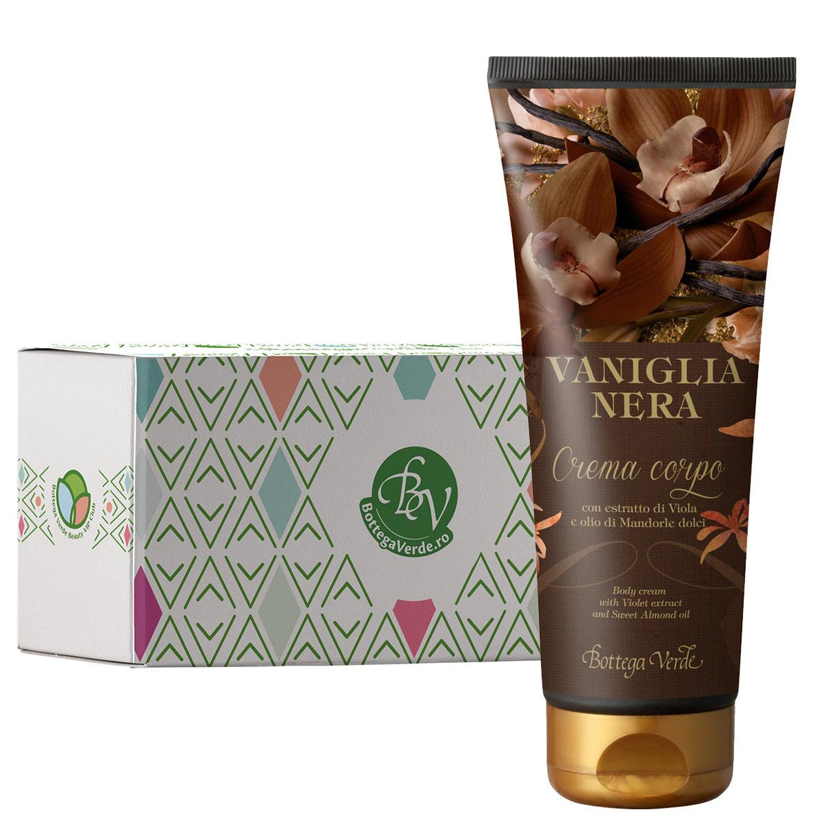 Crema de corp cu extract de vanilie neagra si unt de shea in cutie cadou