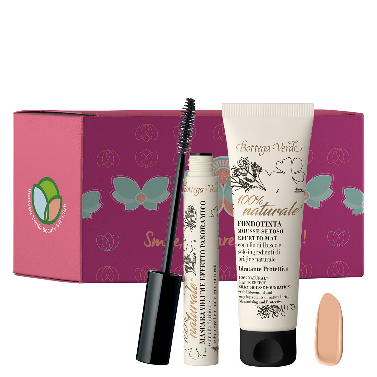 Set fond de ten si mascara volum - 100% natural, 30 ML + 12 ML