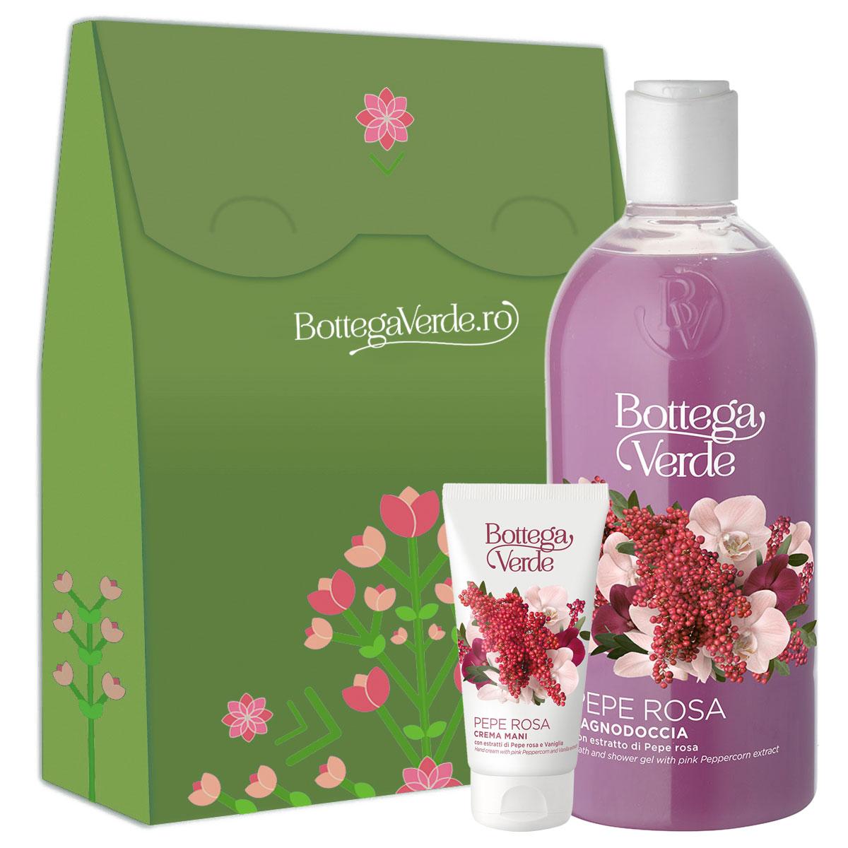 Set cadou femei ingrijire corp cu piper roz si vanilie imagine