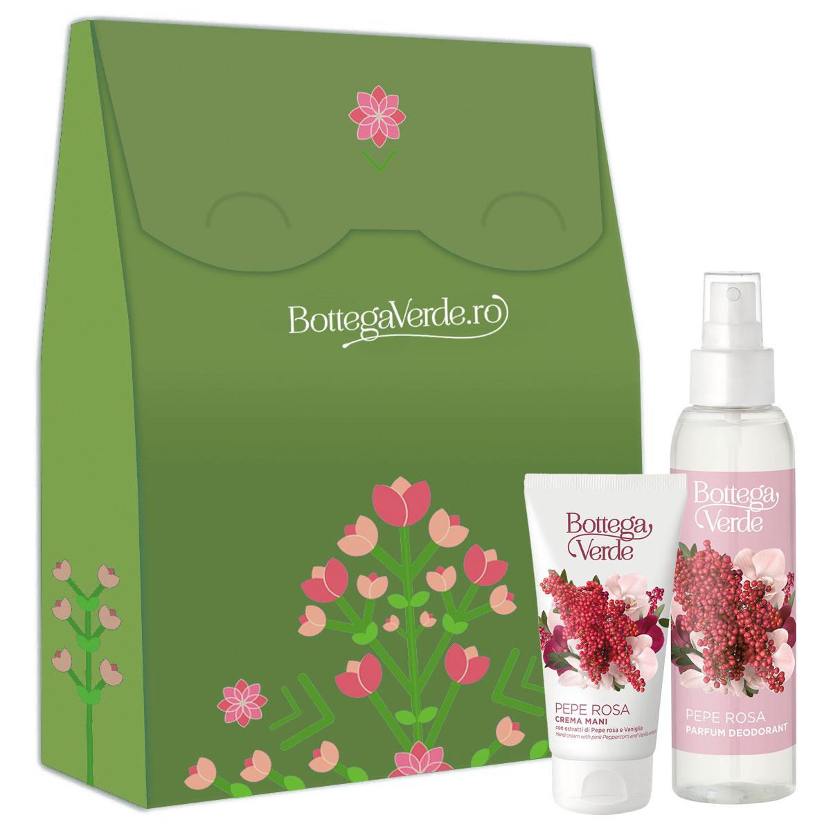 Set cadou femei parfum deodorant si crema de maini cu piper roz imagine