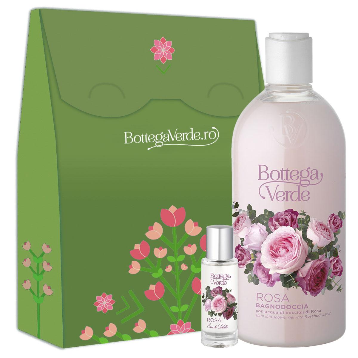 Set cadou femei apa de toaleta si gel de dus cu aroma de trandafiri imagine