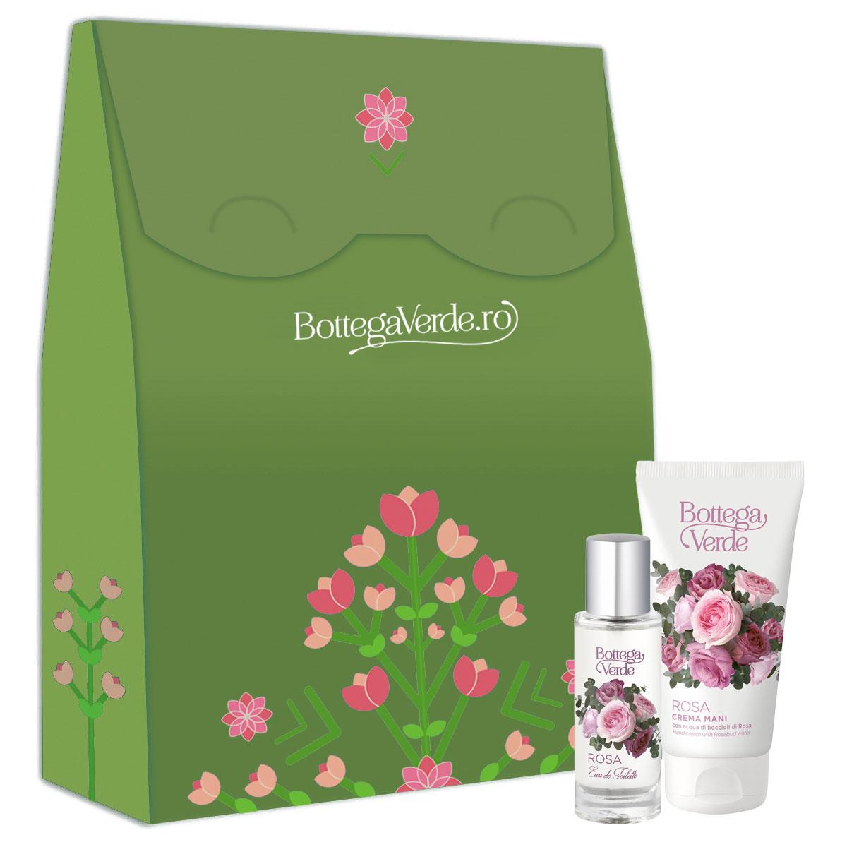 Set cadou femei apa de toaleta si crema de maini cu aroma de trandafir imagine
