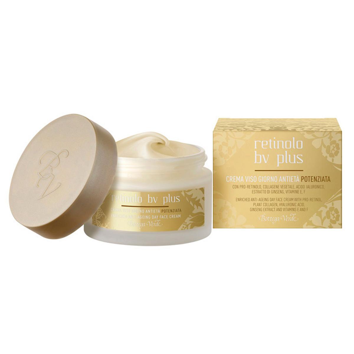 Retinolo Bv Plus - Crema de fata pentru zi , anti-aging cu Pro-Retinol, Colagen vegetal, acid hialuronic, extract de Ginseng, Vitamine E, F
