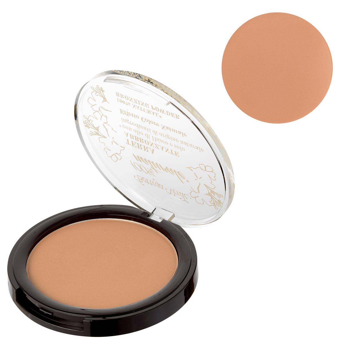 Pudra compacta bronzanta cu extract de ulei de hibiscus si ingrediente naturale, bej inchis - 100% natural
