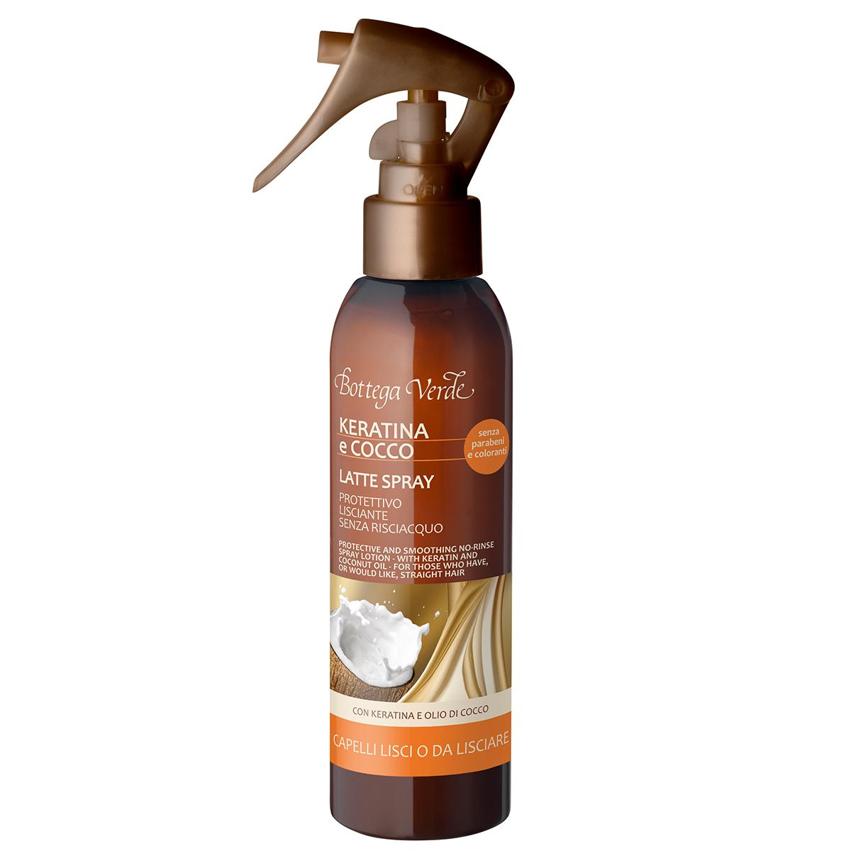 Lapte spray cu keratina si ulei de cocos pentru par predispus la incretire - Keratina e Cocco, 150 ML