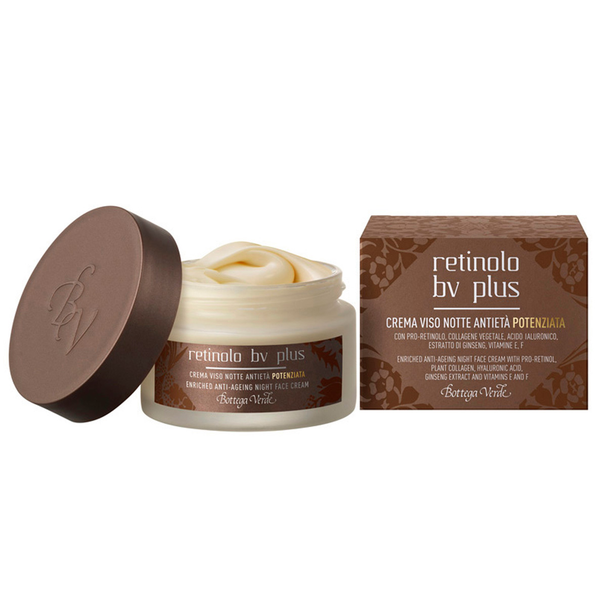 Retinolo Bv Plus - Crema de noapte anti-imbatranire cu Pro - Retinol, Colagen vegetal, acid hialuronic, extract de ginseng si vitamina E, F