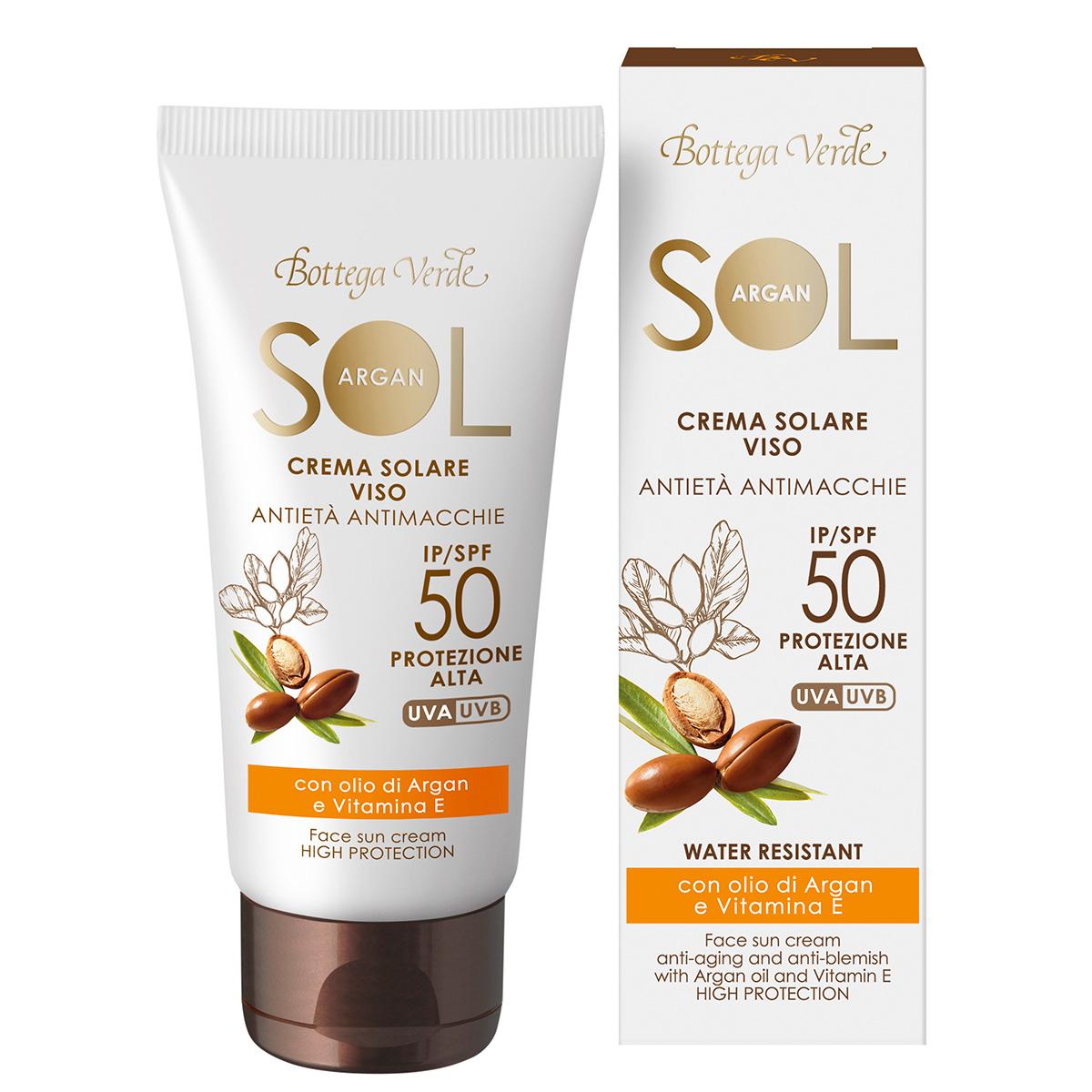 Protectie Solara - Crema de fata pentru plaja cu efect anti-imbatranire, anti-pata - cu ulei de argan si vitamina E - rezistenta la apa - SPF50