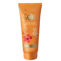 Protectie Solara - Crema pentru plaja rezistenta la apa, cu ulei de Hibiscus si Argan - SPF 20  (200 ML)