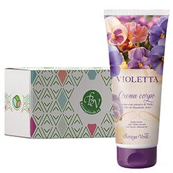 Crema de corp cu extract de violete si ulei de migdale dulci in cutie cadou