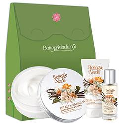 Set cadou femei hidratare cu aroma de vanilie - Petali di Vaniglia, 150 ML + 75 ML + 30ML
