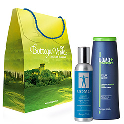 Set cadou - UOMO gel de dus Relax action si parfum deodorant Lemn marin