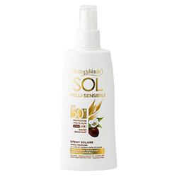 Spray protectie solara, rezistent la apa, cu ulei de Jojoba si lapte de ovaz, SPF50 - Sol Pelli Sensibili, 200 ML