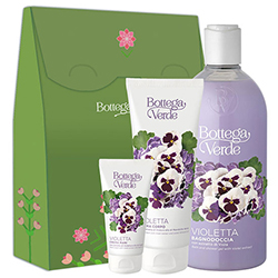 Set cadou hidratare corp cu extract de violete si ulei de migdale dulci - Violetta, 400 ML + 200 ML + 75 ML