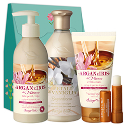 Set Argan, Iris si Vanilie Mix, 400 ML + 75 ML + 250 ML + 5 ML