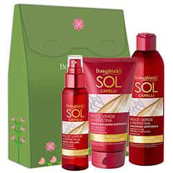Set cadou femei ingrijire par cu protectie solara - Sol Capelli Noce Verde e Keratina, 100 ML + 250 ML + 150 ML