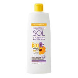 Lapte cu protectie solara, rezistent la apa, cu extract de galbenele de la Palatul Massaini si sofran, SPF 30 - SOL Calendula Zafferano, 400 ML