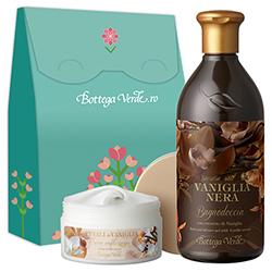Set cadou - Gel de dus vanilie neagra si crema de corp cu petale de vanilie, 400 ML + 200 ML