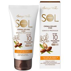 Protectie Solara - Crema de fata pentru plaja - hidrateaza si protejeaza - cu ulei de argan si Ialuron Plus - protectie redusa SPF10   (50 ML)