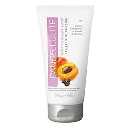 Cancellulite - Gel de dus balsam-scrub cu obtinere rapida de spuma, cu extract de cofeina si microgranule din samburi de caise