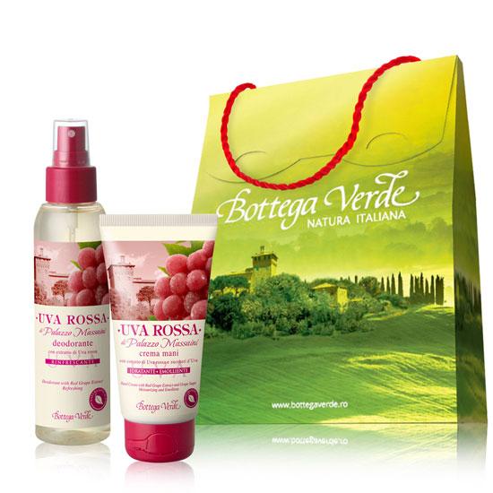 Set cadou - Crema de maini si parfum deodorant cu extract de struguri rosii  (75 ML + 125 ML)