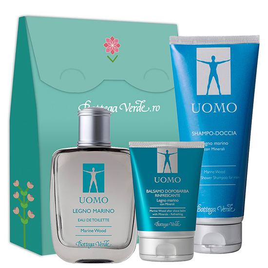 Set ingrijire cu aroma lemnoasa - Legno Marino, 50 ML + 75 ML + 200 ML