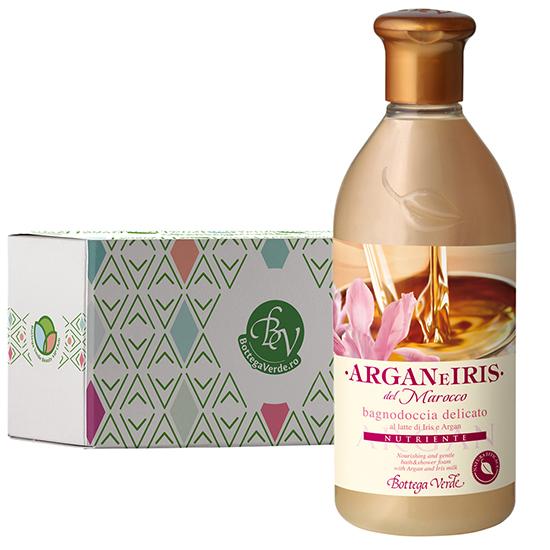 Gel de dus delicat cu ulei de argan si lapte de Iris in cutie cadou - Argan e Iris, 400 ML