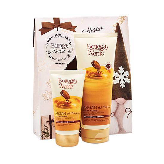 Set cadou femei, hidratare intensa corp, cu extract de ulei de argan - Argan del Marocco, 200 ML, 75 ML