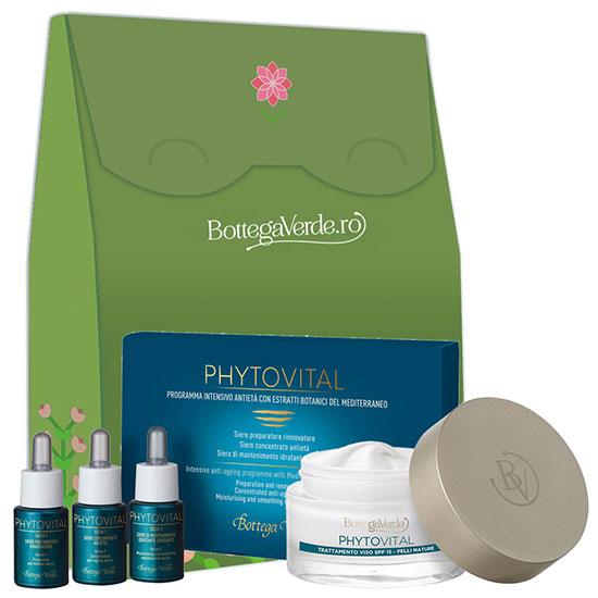 Set cadou femei antirid cu extracte botanice si colagen marin - Phytovital, 10 ML + 50 ML