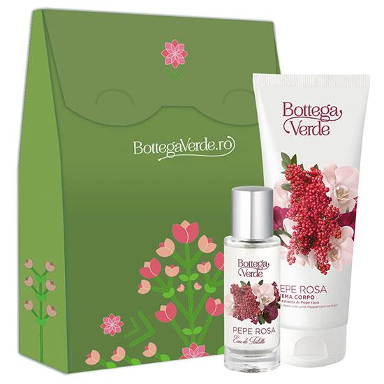 Set pentru femei, parfumat, cu extract de piper roz, 30 ML + 200 ML