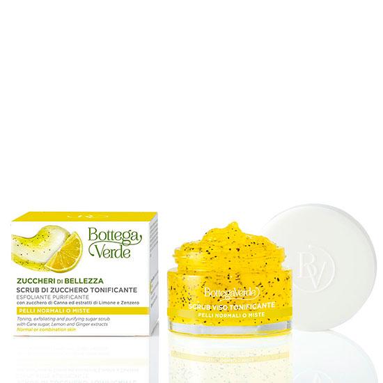 Scrub pentru fata cu trestie de zahar, cu extract de lamaie si ghimbir - Zuccheri di bellezza, 50 ML