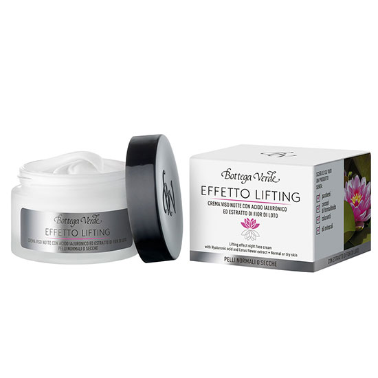 Crema de fata, de noapte, cu efect lifting cu unt de shea, acid hialuronic si extract din flori de lotus - Effetto Lifting, 50 ML