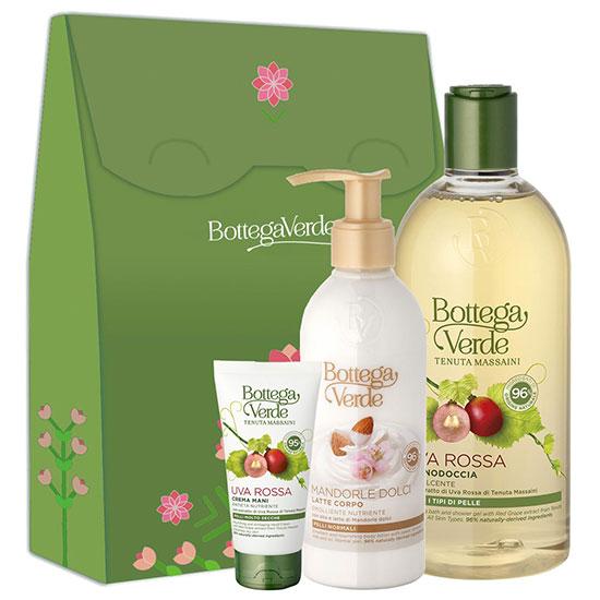 Set cadou femei hidratare corp cu ingrediente naturale, 400 ML + 75 ML + 250 ML