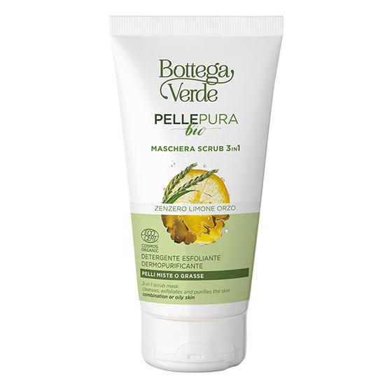 Masca exfolianta 3 in 1, pentru ten gras si mixt, cu extract de ghimbir - Pelle Pura Bio, 150 ML