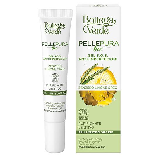 Gel corector S.O.S purificator, pentru ten gras si mixt, cu extract de ghimbir bio si Aloe Vera bio - Pelle Pura Bio, 10 ML