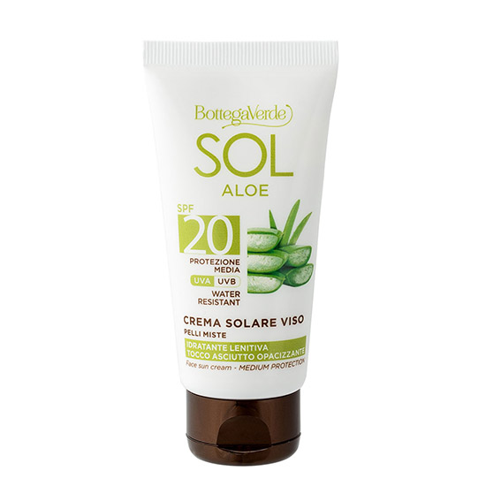 Crema hidratanta, de zi, pentru ten mixt, cu suc de Aloe Vera, SPF 20 - Sol Aloe, 50 ML