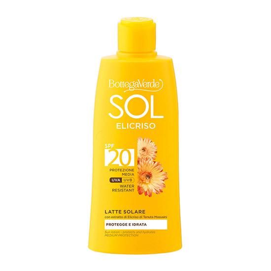 Lapte hidratant pentru corp, rezistent la apa, cu extract de helycrysum de la Domeniul Massaini, SPF 20 - Sol Elicriso, 200 ML