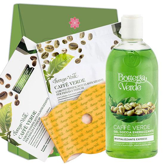 Set cadou femei tonifiere corp cu extract de cafea verde si mix de uleiuri esentiale - Caffè Verde, 400 ML + 8BUC