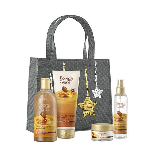 Set cadou femei, parfumare intensa corp,  cu ulei de argan - Argan del Marocco, 125 ML, 200 ML, 400 ML, 50 ML