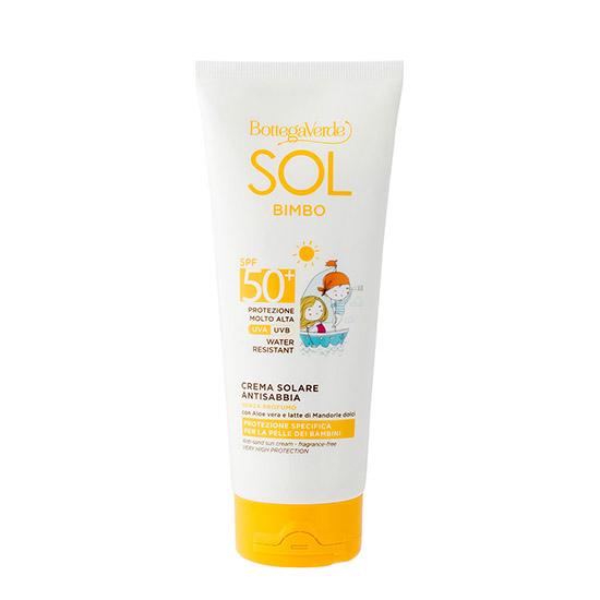 Crema pentru copii cu protectie solara, rezistent la apa, anti-nisip, cu extract de Aloe Vera si lapte de migdale dulci, SPF 50 - Sol Bimbo, 200 ML