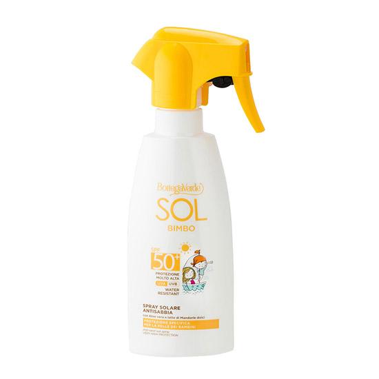 Spray pentru copii cu protectie solara, rezistent la apa, anti-nisip, cu extract de Aloe Vera si lapte de migdale dulci, SPF 50 - Sol Bimbo, 250 ML