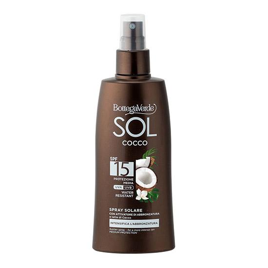Spray de corp, protejeaza si ajuta la intensificarea bronzului, cu lapte de nuca de cocos, SPF 15 - SOL Cocco, 200 ML