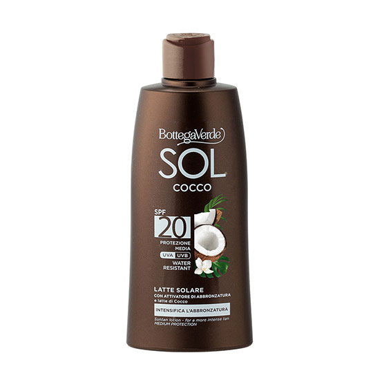 Lapte de corp, protejeaza si ajuta la intensificarea bronzului, cu lapte de nuca de cocos, SPF 20 - SOL Cocco, 200 ML